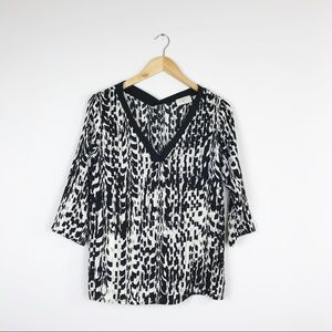 Everly Black/Ivory Printed Blouse